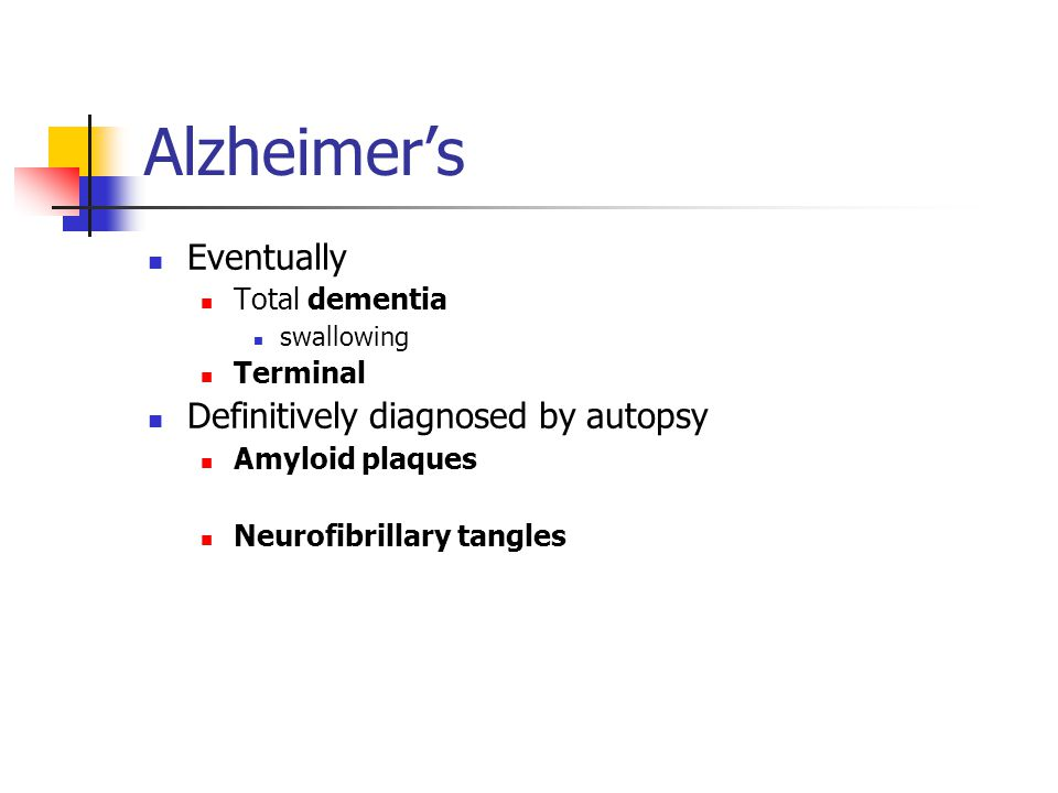 Alzheimer's Eventually Total dementia swallowing Terminal Definitively diagnosed by autopsy Amyloid plaques Neurofibrillary tangles