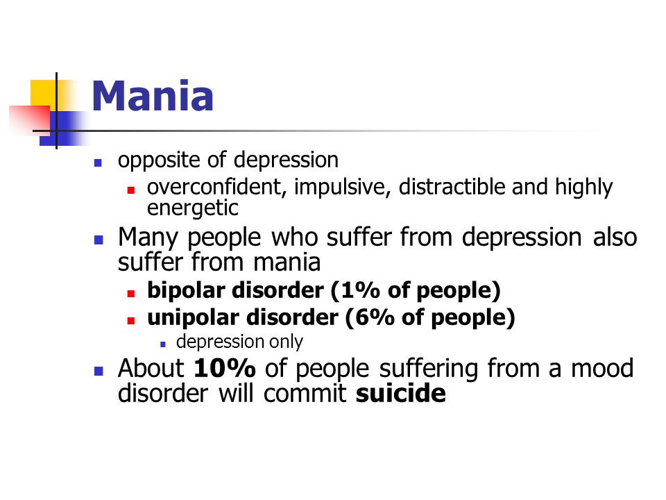 Mania opposite of depression overconfident, impulsive, distractible and highly energetic Many people who suffer from depression also suffer from mania bipolar disorder (1% of people) unipolar disorder (6% of people) depression only About 10% of people suffering from a mood disorder will commit suicide