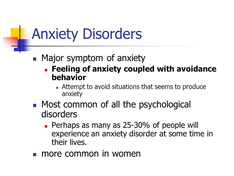 Five anxiety disorders 1) Generalized anxiety disorder (GAD) Unrealistic, excessive, persistent worry Chronic An intense anxiety that is diffuse Not brought on by anything specific No clear insight to what is causing the anxiety