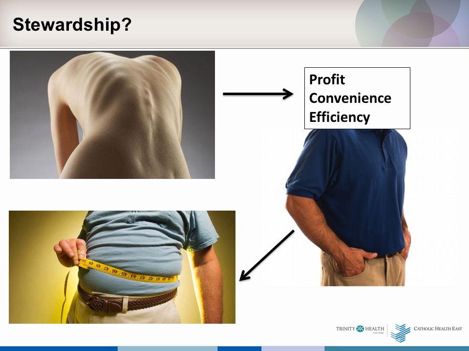 Stewardship? Profit Convenience Efficiency