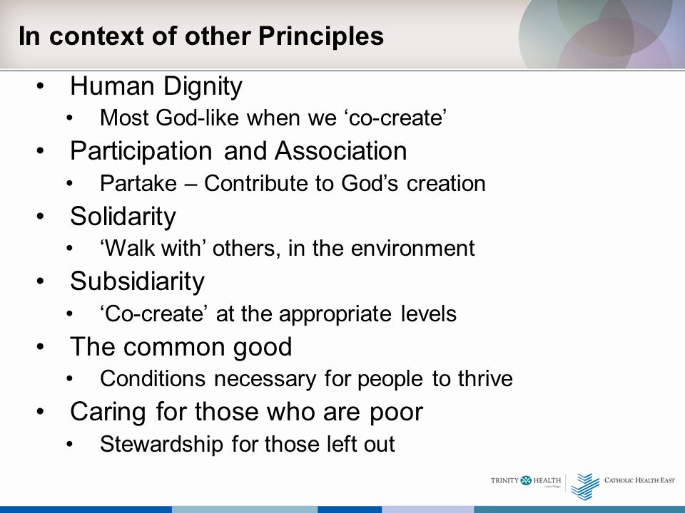 In context of other Principles Human Dignity Most God-like when we 'co-create' Participation and Association Partake – Contribute to God's creation Solidarity 'Walk with' others, in the environment Subsidiarity 'Co-create' at the appropriate levels The common good Conditions necessary for people to thrive Caring for those who are poor Stewardship for those left out