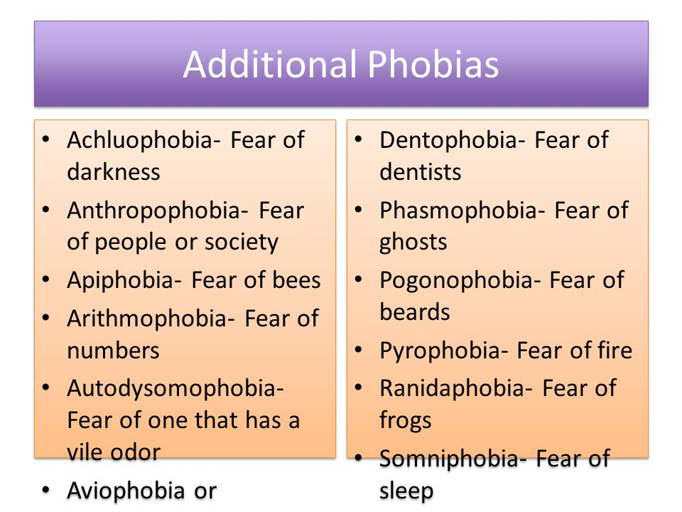 Additional Phobias Achluophobia- Fear of darkness Anthropophobia- Fear of people or society Apiphobia- Fear of bees Arithmophobia- Fear of numbers Autodysomophobia- Fear of one that has a vile odor Aviophobia or Aviatophobia- Fear of flying Bibliophobia- Fear of books Chorophobia- Fear of dancing Achluophobia- Fear of darkness Anthropophobia- Fear of people or society Apiphobia- Fear of bees Arithmophobia- Fear of numbers Autodysomophobia- Fear of one that has a vile odor Aviophobia or Aviatophobia- Fear of flying Bibliophobia- Fear of books Chorophobia- Fear of dancing Dentophobia- Fear of dentists Phasmophobia- Fear of ghosts Pogonophobia- Fear of beards Pyrophobia- Fear of fire Ranidaphobia- Fear of frogs Somniphobia- Fear of sleep Technophobia- Fear of technology Triskaidekaphobia- Fear of the number 13 Zoophobia- Fear of animals Dentophobia- Fear of dentists Phasmophobia- Fear of ghosts Pogonophobia- Fear of beards Pyrophobia- Fear of fire Ranidaphobia- Fear of frogs Somniphobia- Fear of sleep Technophobia- Fear of technology Triskaidekaphobia- Fear of the number 13 Zoophobia- Fear of animals
