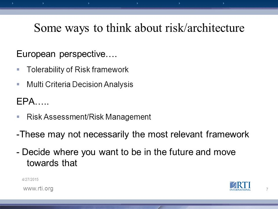 www.rti.org 4/27/2015 Some ways to think about risk/architecture European perspective….