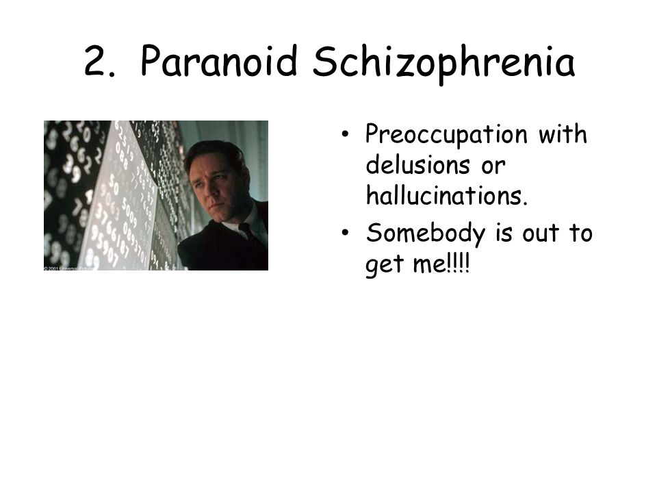 2. Paranoid Schizophrenia Preoccupation with delusions or hallucinations.