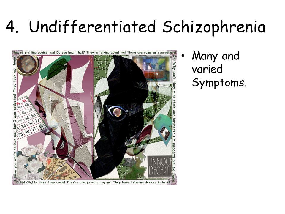 4. Undifferentiated Schizophrenia Many and varied Symptoms.