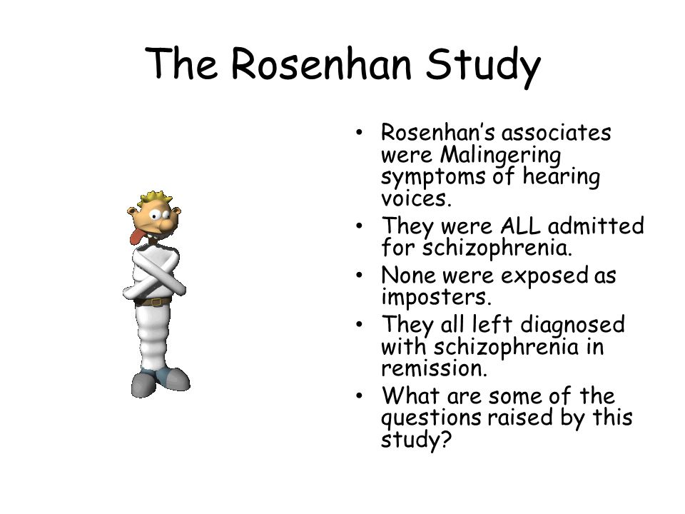 The Rosenhan Study Rosenhan's associates were Malingering symptoms of hearing voices.