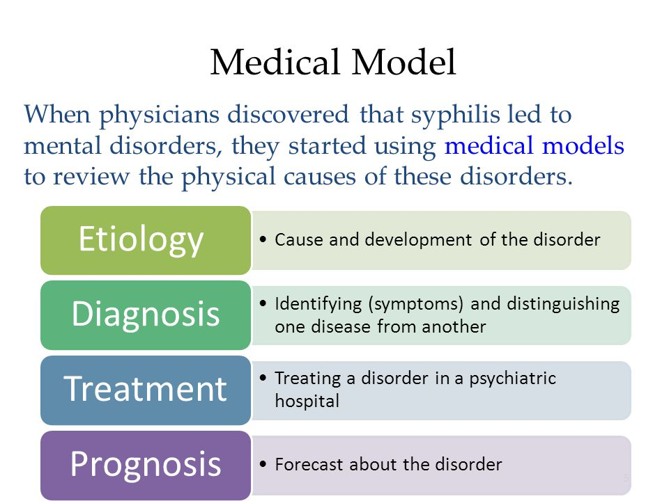 5 Medical Model When physicians discovered that syphilis led to mental disorders, they started using medical models to review the physical causes of these disorders.