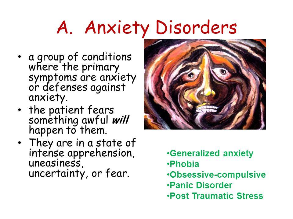 1.Phobias A person experiences sudden episodes of intense dread.