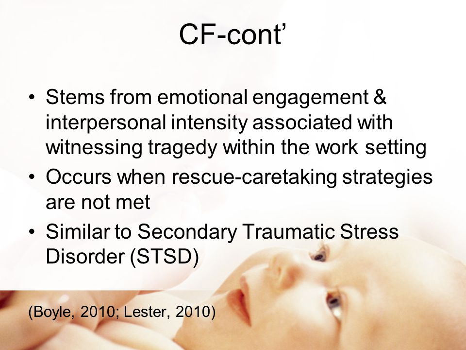 Risk Factors CF First Responders Soldiers Noted in caring professionals whose personal identity is closely associated with their professional role Inability to rescue patients