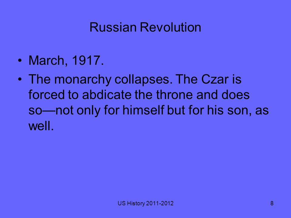 Russian Revolution Politicians set up a Provisional Government that went to work on creating a constitution for a new Russian Republic.
