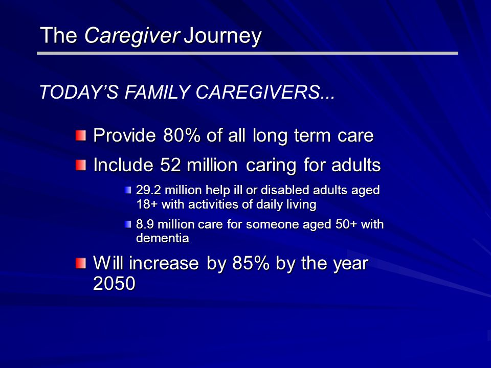 The Caregiver Journey The Caregiver Journey TODAY'S FAMILY CAREGIVERS... Provide 80% of all long term care Include 52 million caring for adults 29.2 m