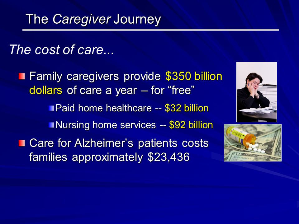 """The Caregiver Journey Family caregivers provide $350 billion dollars of care a year – for """"free"""" Paid home healthcare -- $32 billion Nursing home serv"""