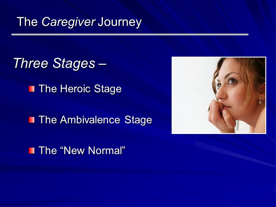 The Caregiver Journey The Heroic Stage The Ambivalence Stage The New Normal Three Stages –