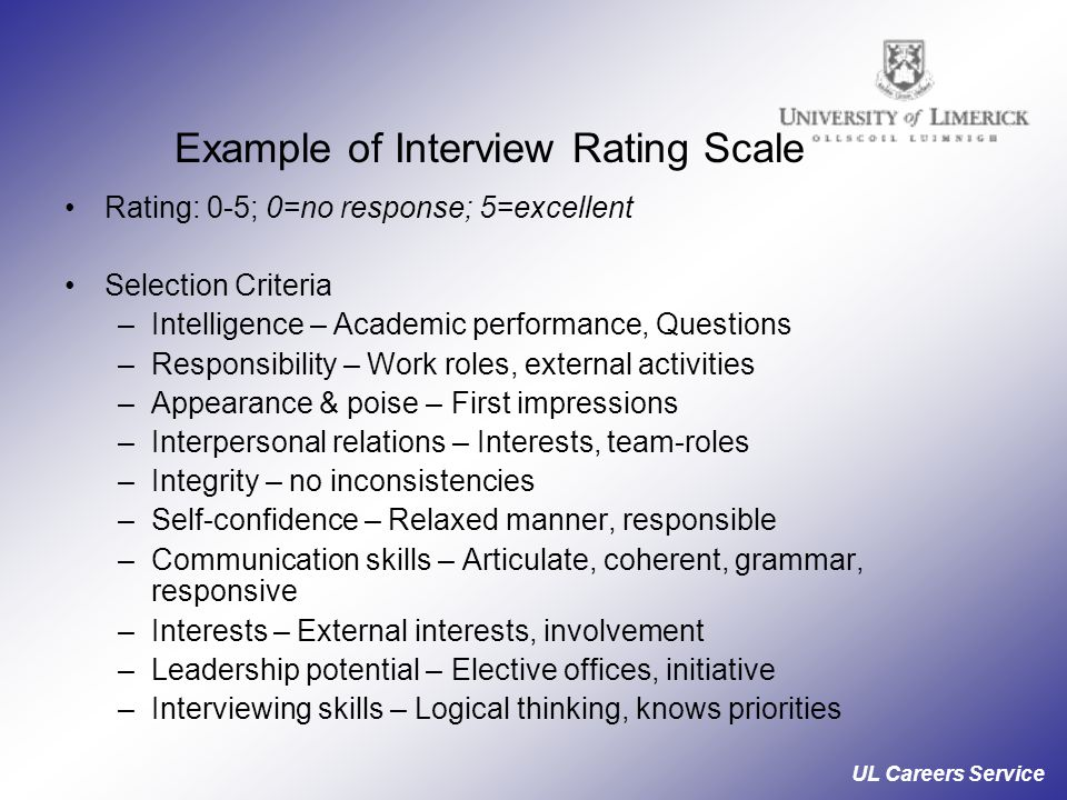 UL Careers Service Example of Interview Rating Scale Rating: 0-5; 0=no response; 5=excellent Selection Criteria –Intelligence – Academic performance, Questions –Responsibility – Work roles, external activities –Appearance & poise – First impressions –Interpersonal relations – Interests, team-roles –Integrity – no inconsistencies –Self-confidence – Relaxed manner, responsible –Communication skills – Articulate, coherent, grammar, responsive –Interests – External interests, involvement –Leadership potential – Elective offices, initiative –Interviewing skills – Logical thinking, knows priorities