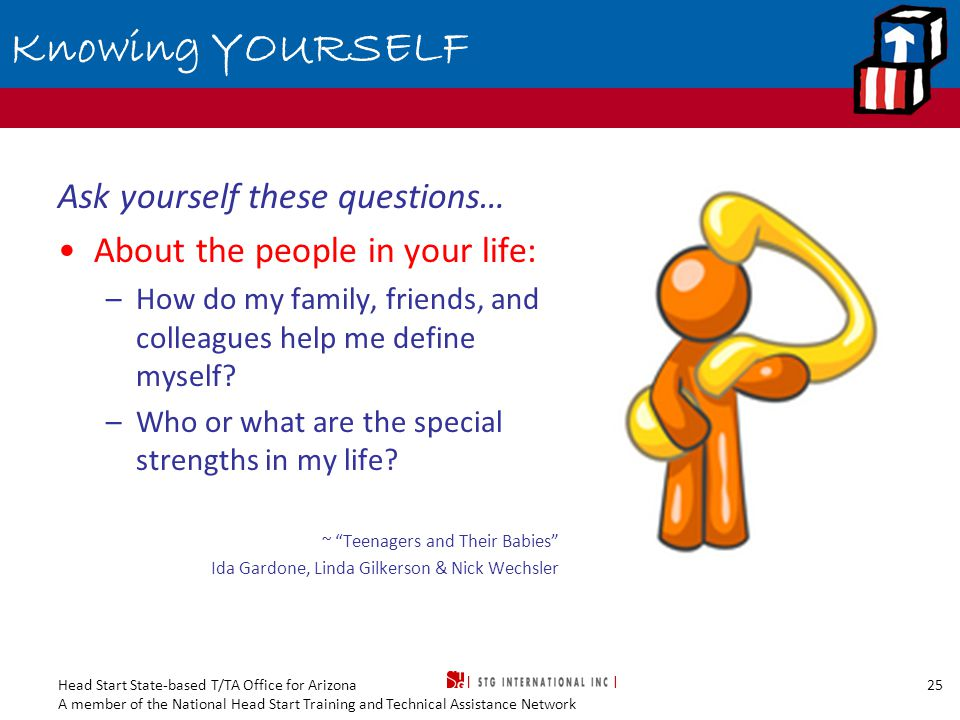 Head Start State-based T/TA Office for Arizona A member of the National Head Start Training and Technical Assistance Network 25 Knowing YOURSELF Ask yourself these questions… About the people in your life: –How do my family, friends, and colleagues help me define myself.