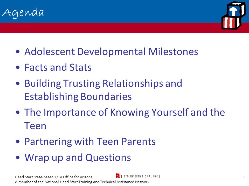 Head Start State-based T/TA Office for Arizona A member of the National Head Start Training and Technical Assistance Network 3 Agenda Adolescent Developmental Milestones Facts and Stats Building Trusting Relationships and Establishing Boundaries The Importance of Knowing Yourself and the Teen Partnering with Teen Parents Wrap up and Questions