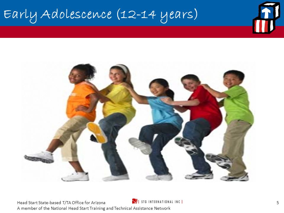 Head Start State-based T/TA Office for Arizona A member of the National Head Start Training and Technical Assistance Network 5 Early Adolescence (12-14 years)