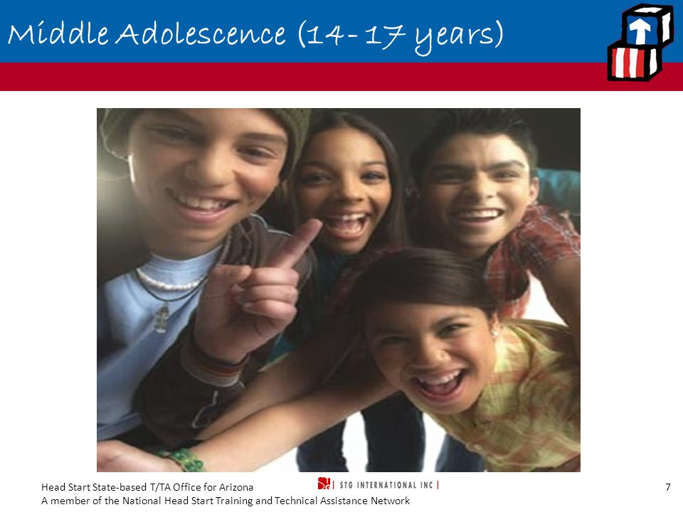 Head Start State-based T/TA Office for Arizona A member of the National Head Start Training and Technical Assistance Network 7 Middle Adolescence (14- 17 years)