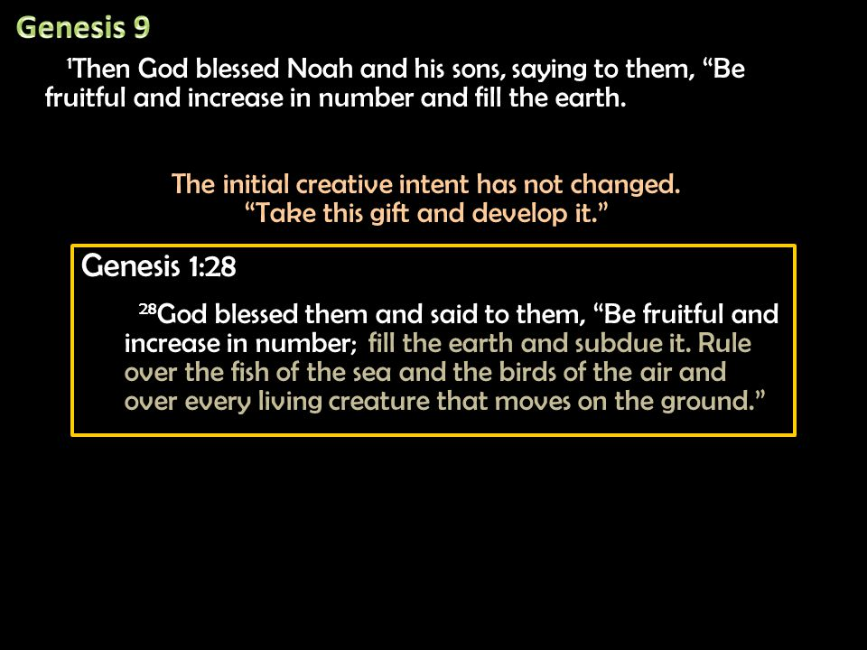 1 Then God blessed Noah and his sons, saying to them, Be fruitful and increase in number and fill the earth.
