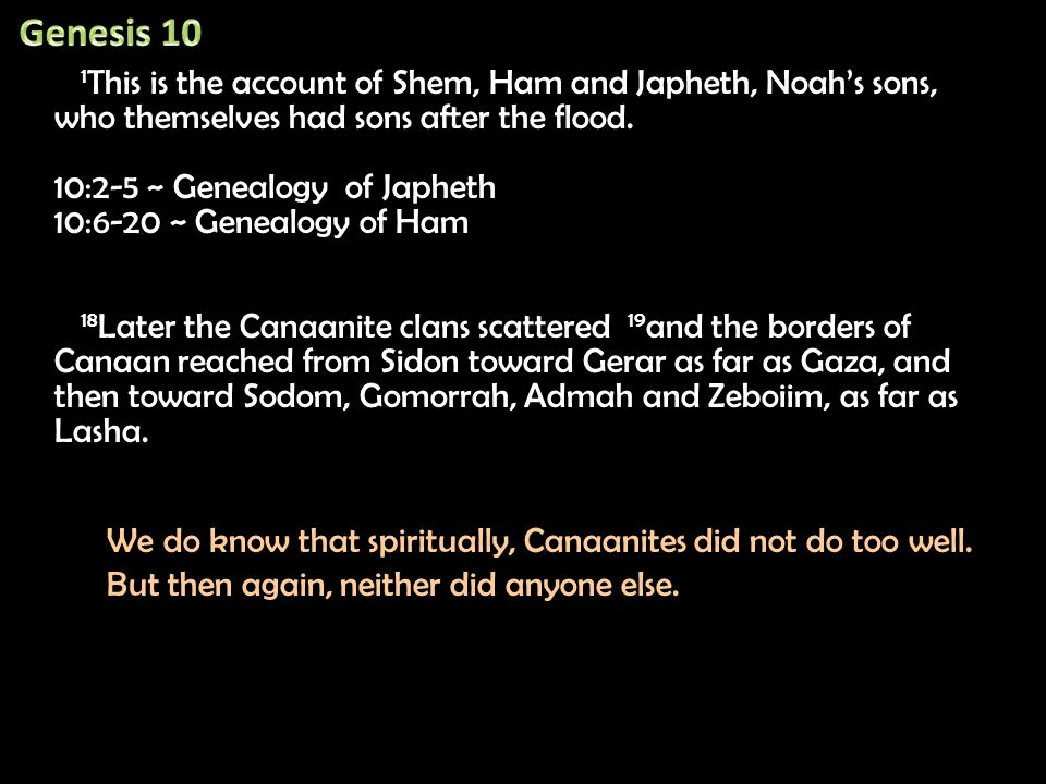 1 This is the account of Shem, Ham and Japheth, Noah's sons, who themselves had sons after the flood.