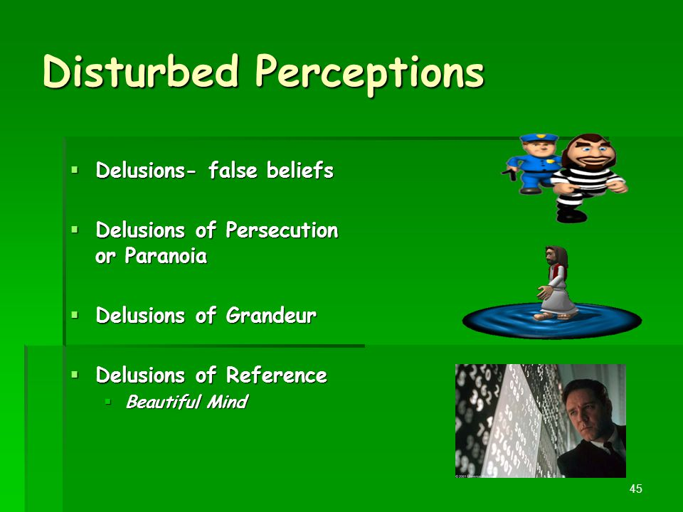 Disturbed Perceptions  Delusions- false beliefs  Delusions of Persecution or Paranoia  Delusions of Grandeur  Delusions of Reference  Beautiful M