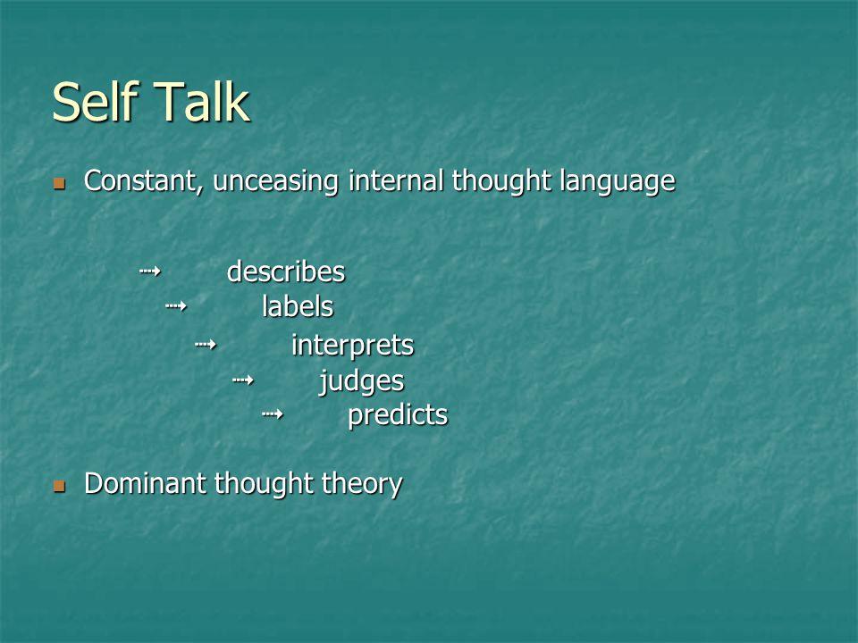 Self Talk OK STRESS! OK STRESS! Accurate, based in reality Inaccurate, exaggerated, untrue
