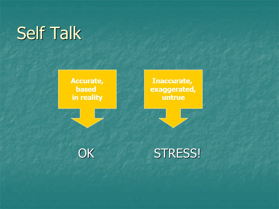 Self Talk OK STRESS! OK STRESS! Accurate, based in reality Inaccurate, exaggerated, untrue
