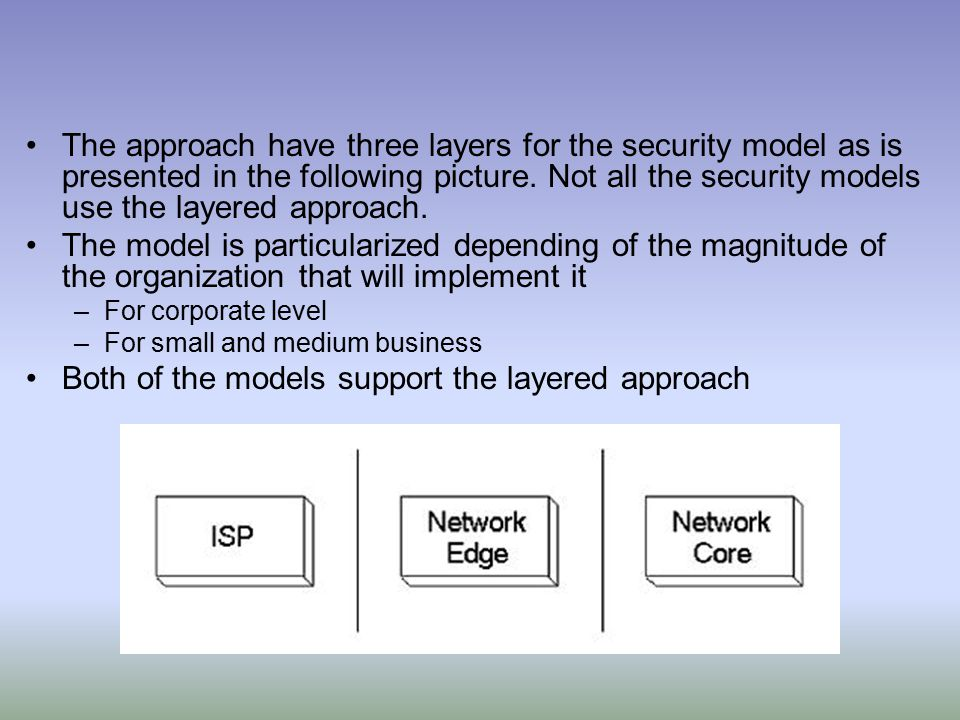The approach have three layers for the security model as is presented in the following picture.