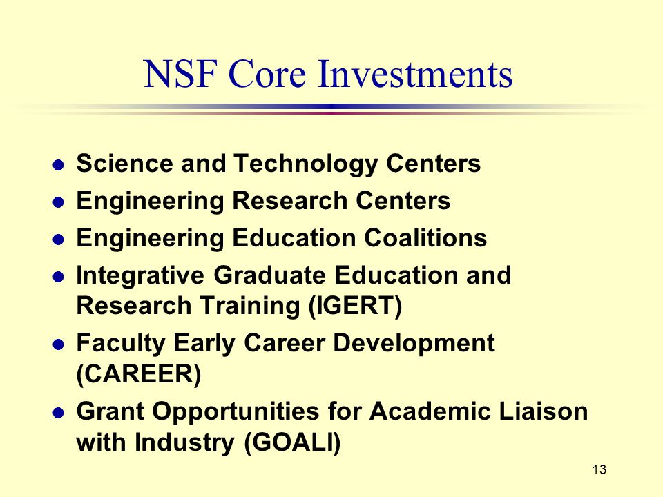 13 NSF Core Investments l Science and Technology Centers l Engineering Research Centers l Engineering Education Coalitions l Integrative Graduate Education and Research Training (IGERT) l Faculty Early Career Development (CAREER) l Grant Opportunities for Academic Liaison with Industry (GOALI)