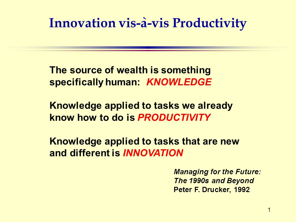 1 The source of wealth is something specifically human: KNOWLEDGE Knowledge applied to tasks we already know how to do is PRODUCTIVITY Knowledge applied to tasks that are new and different is INNOVATION Managing for the Future: The 1990s and Beyond Peter F.