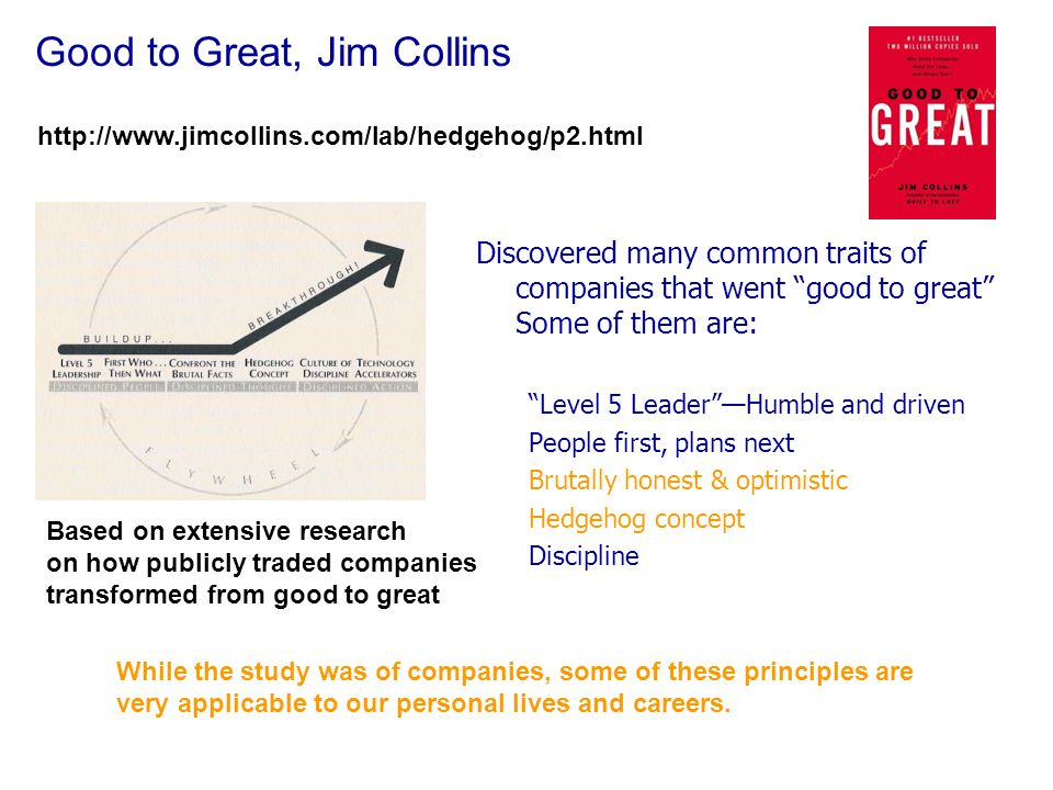 Good to Great, Jim Collins Discovered many common traits of companies that went good to great Some of them are: Level 5 Leader —Humble and driven People first, plans next Brutally honest & optimistic Hedgehog concept Discipline http://www.jimcollins.com/lab/hedgehog/p2.html Based on extensive research on how publicly traded companies transformed from good to great While the study was of companies, some of these principles are very applicable to our personal lives and careers.