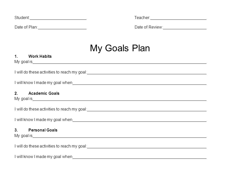 Student:Teacher: Date of Plan:Date of Review: My Goals Plan 1.Work Habits My goal is I will do these activities to reach my goal: I will know I made my goal when 2.Academic Goals My goal is I will do these activities to reach my goal: I will know I made my goal when 3.Personal Goals My goal is I will do these activities to reach my goal: I will know I made my goal when
