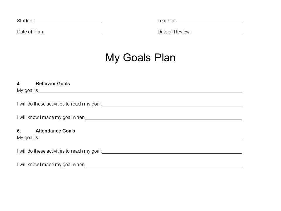 Student:Teacher: Date of Plan:Date of Review: My Goals Plan 4.Behavior Goals My goal is I will do these activities to reach my goal: I will know I made my goal when 5.Attendance Goals My goal is I will do these activities to reach my goal: I will know I made my goal when