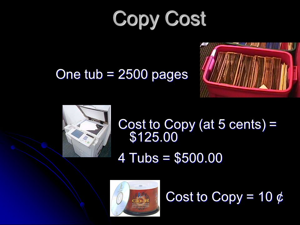 Copy Cost Cost to Copy (at 5 cents) = $125.00 4 Tubs = $500.00 One tub = 2500 pages Cost to Copy = 10 ¢