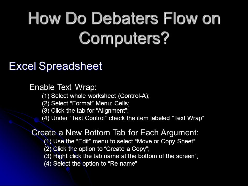 How Do Debaters Flow on Computers.