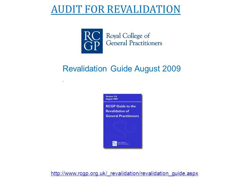 AUDIT FOR REVALIDATION Revalidation Guide August 2009. http://www.rcgp.org.uk/_revalidation/revalidation_guide.aspx