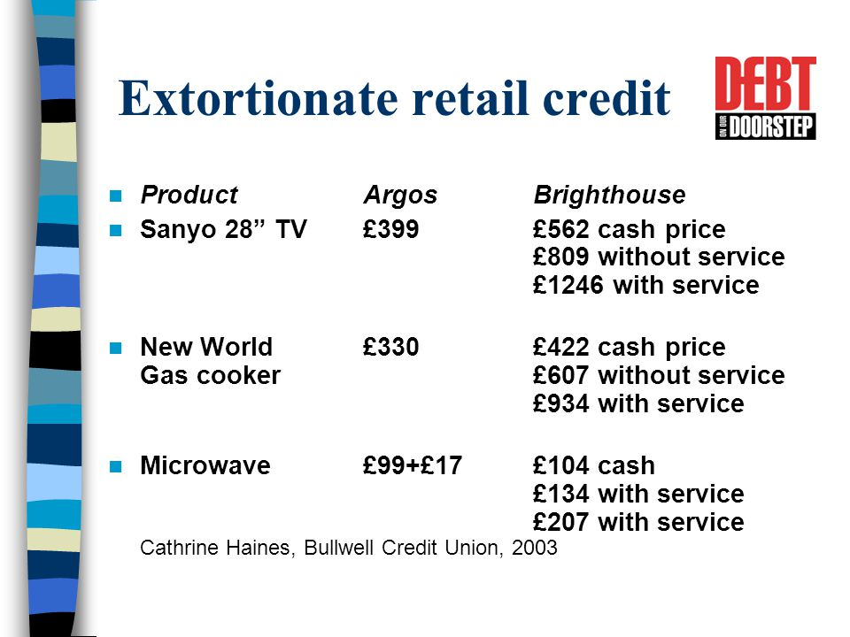Extortionate retail credit ProductArgosBrighthouse Sanyo 28 TV£399 £562 cash price £809 without service £1246 with service New World £330£422 cash price Gas cooker£607 without service £934 with service Microwave£99+£17£104 cash £134 with service £207 with service Cathrine Haines, Bullwell Credit Union, 2003