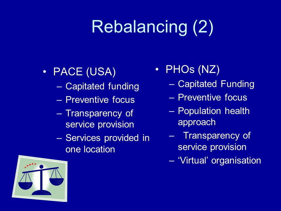 Rebalancing (2) PACE (USA) –Capitated funding –Preventive focus –Transparency of service provision –Services provided in one location PHOs (NZ) –Capit