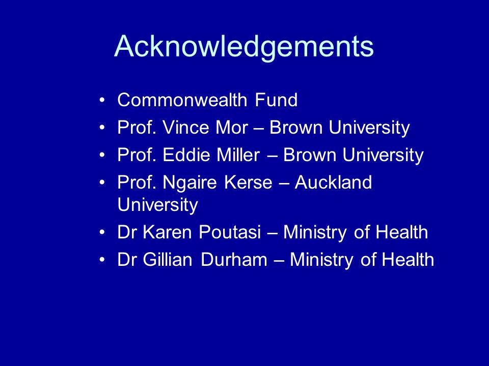 Acknowledgements Commonwealth Fund Prof. Vince Mor – Brown University Prof. Eddie Miller – Brown University Prof. Ngaire Kerse – Auckland University D