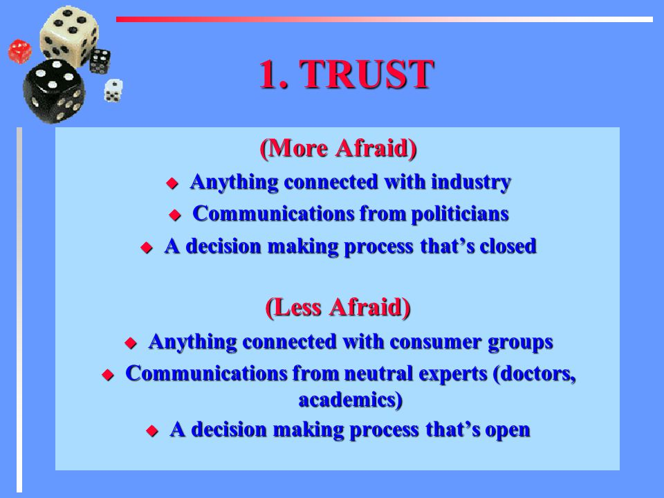 1.TRUST u The more we trust, the less afraid we will be.