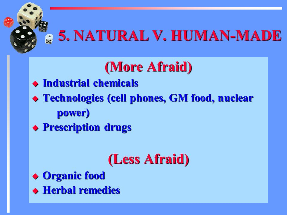 4. CHOICE (More Afraid) u A drug with a side effect NOT reported by the company company u A nuclear waste repository a company proposes to build in yo