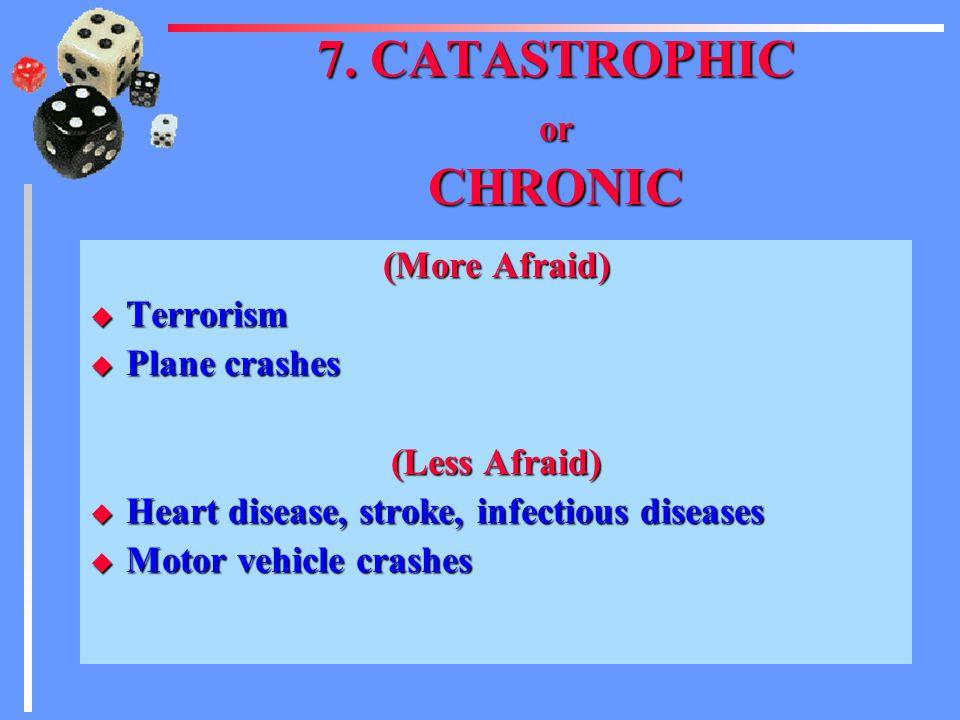 6. DREAD (More Afraid) u Plane crash u Anything associated with radiation (cancer) u Pesticides (cancer) (Less Afraid) u Heart disease u Accidents