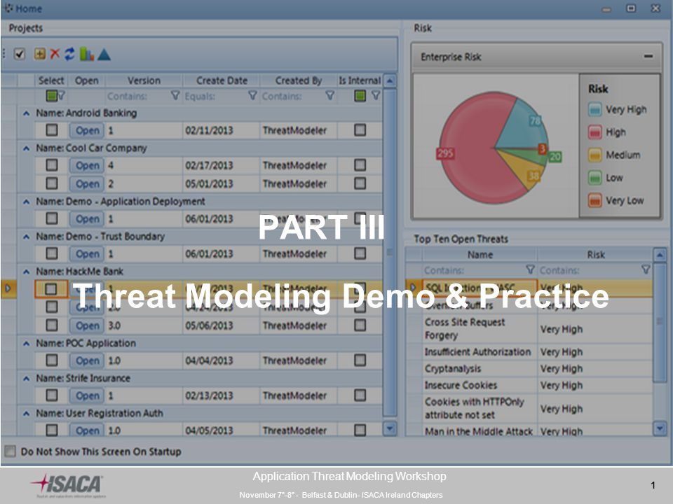 November 7°-8° - Belfast & Dublin- ISACA Ireland Chapters 1 Application Threat Modeling Workshop PART III Threat Modeling Demo & Practice