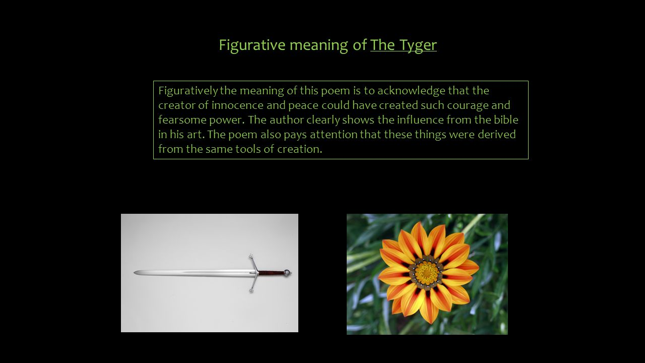 Figurative meaning of The Tyger Figuratively the meaning of this poem is to acknowledge that the creator of innocence and peace could have created suc
