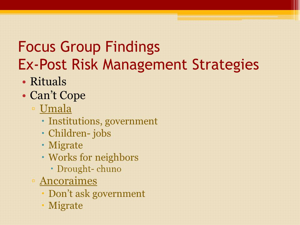 Focus Group Findings Ex-Post Risk Management Strategies Rituals Can't Cope ▫Umala  Institutions, government  Children- jobs  Migrate  Works for neighbors  Drought- chuno ▫Ancoraimes  Don't ask government  Migrate