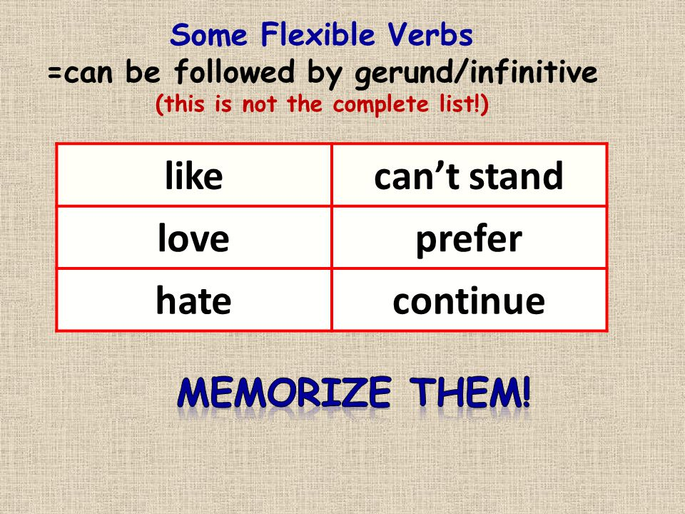 Some Flexible Verbs =can be followed by gerund/infinitive (this is not the complete list!) likecan't stand loveprefer hatecontinue