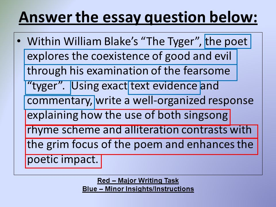 """Answer the essay question below: Within William Blake's """"The Tyger"""", the poet explores the coexistence of good and evil through his examination of the"""