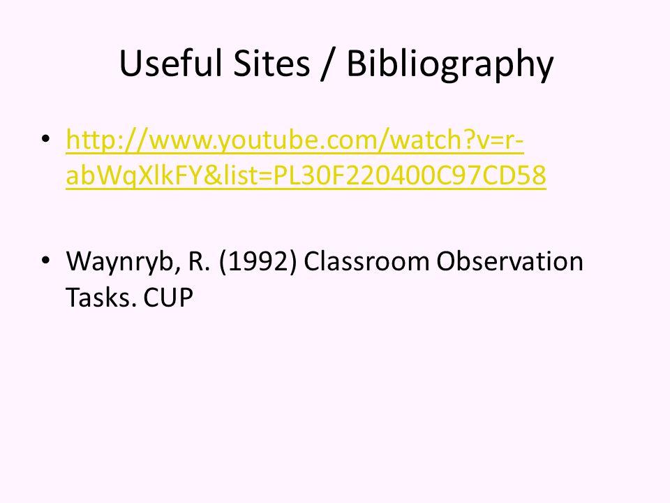 Useful Sites / Bibliography http://www.youtube.com/watch v=r- abWqXlkFY&list=PL30F220400C97CD58 http://www.youtube.com/watch v=r- abWqXlkFY&list=PL30F220400C97CD58 Waynryb, R.