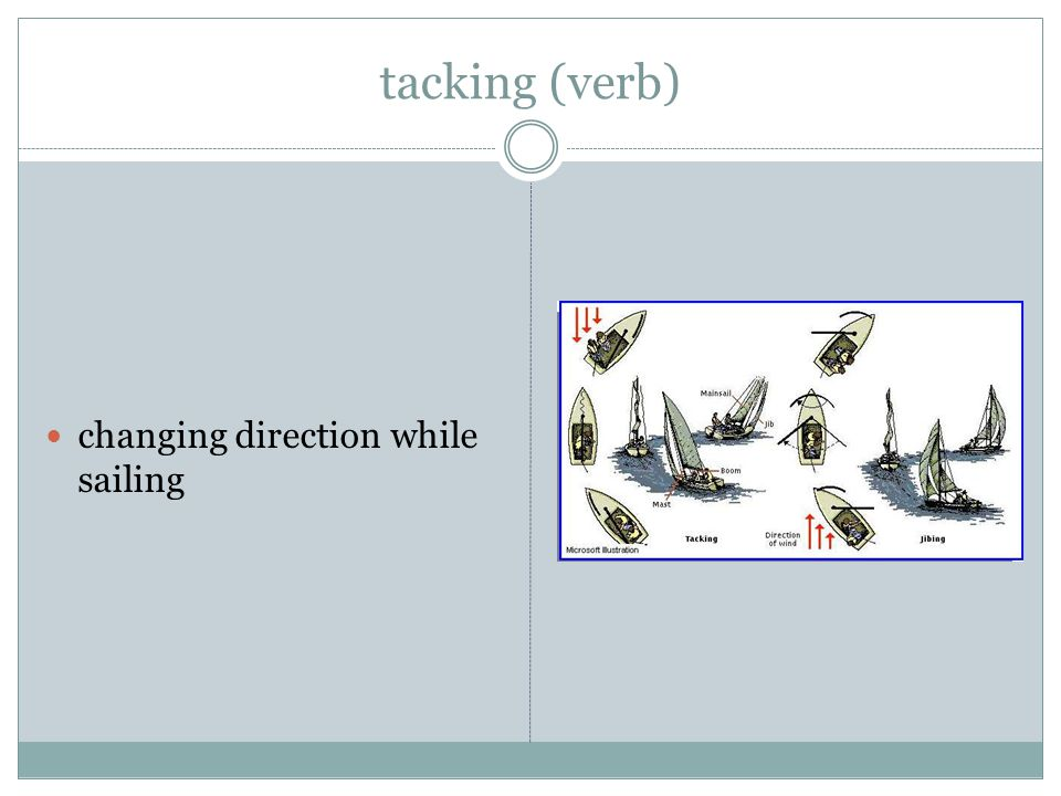 tacking (verb) changing direction while sailing