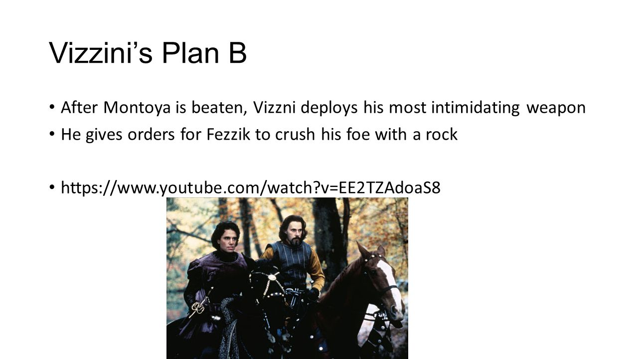 Leadership Analysis Vizzini has done a good job of delegating so far even though his plans have yet to be effective Unfortunately, his influence is clearly fading because Fezzik ignores his instructions and tries to fight the Dread Pirate Roberts man to man This leads Vizzini to move to his last resort; Himself… https://www.youtube.com/watch?v=U_eZmEiyTo0